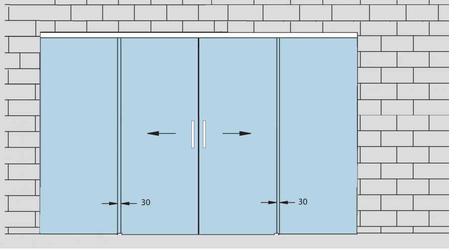 Двустворчатая стеклянная дверь с двумя фрамугами